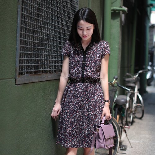 GT Clementine Floral spell color V-neck dress retro