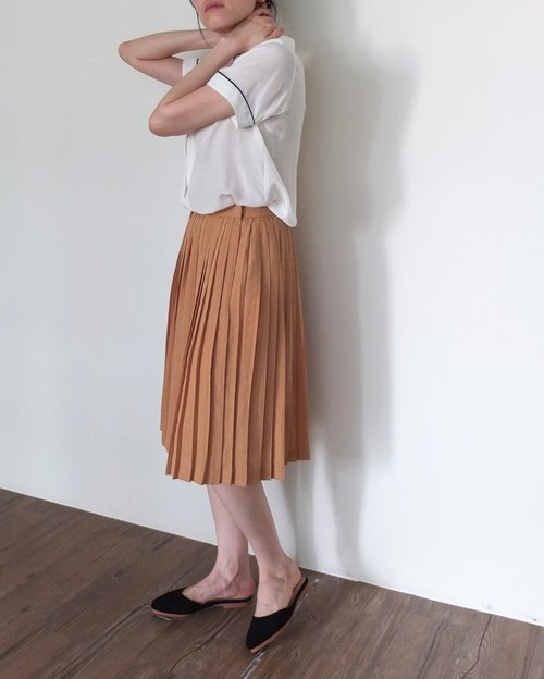 Japan vintage merchandise khaki skirt below the knee geometry