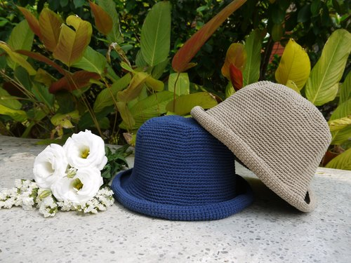 Mama の hand made hat - Summer cotton rope hat - retro square hat / denim blue / Mother's Day / picnic / outing