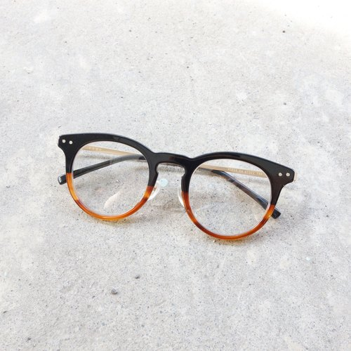[Head] Japanese firm mesh lightweight sheet metal retro round frame + gradient Black + tea glasses