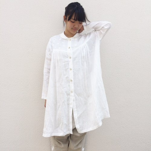 白とボーダー/リネン shower/white/linen/shirts/dots