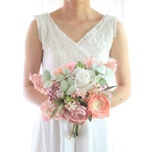 MB206 : Bridal Wedding Bouquet, Sweet Pink