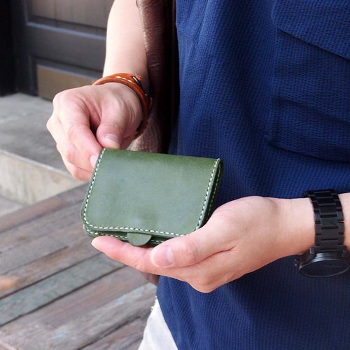 Japanese workers are leather pocket pocket purse Made by HANDIIN