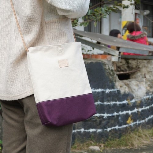 Minimalist Yue Pisheng strap canvas bag - Purple