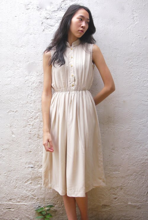 FOAK vintage beige embroidery hollow dress