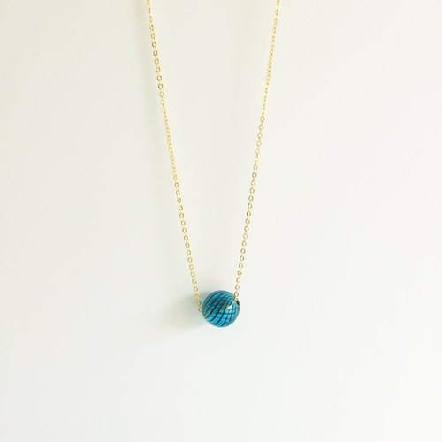 Mini-planet pin ossicular chain necklace glass bead necklace blue sapphire blue and striped wooden bead bead geometry of original hand-made 16K gold-copper-plated chain Ball Royal Blue geometric Necklace Handmade
