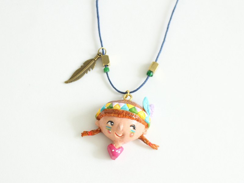 "Little girl ""Lena"" indian necklace - Handmade in polymer clay, one of a kind jewelry"
