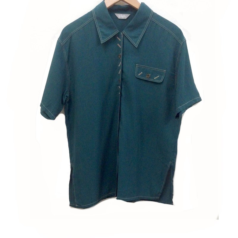 Cuori❄ Turkey clever green color buckle vintage shirt