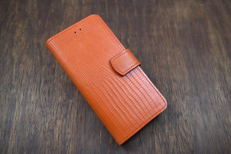 APEE leather hand-side lift mobile phone holster ~ lizard skin tangerine citrus