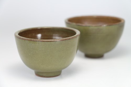 Green tea cup pottery--handmade--handmade--casting--glazed - Clay