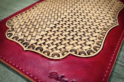 APEE Cowhide leather ipad mini 4 ~ handmade leather woven pattern retro coke tea ~