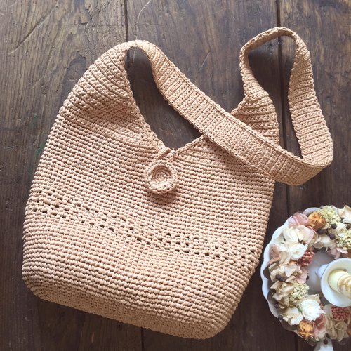 Efforts to shore with the good side shoulder bag / woven bag / paper raffia rattan bag / shoulder bag hand-made〗 〖crazy hopscotch