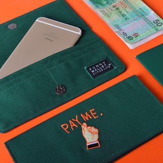 kiitos life-funny series canvas fold Long Wallet - dark green gesture to pay money fast arrival # #