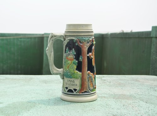 Early painted ceramics Bavarian beer mug