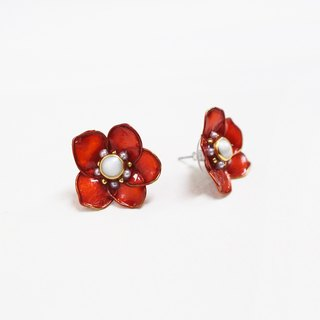 half's half- bloom (large flowers vermilion) - Flowers / Drilling / auricular / ear clip / needle / earrings / resin