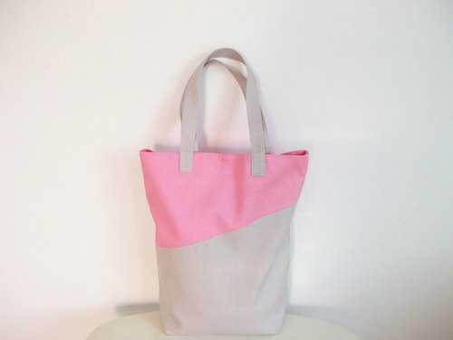 Pastel Pink Cute Linen Shopping Bag