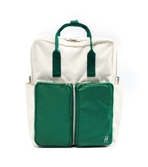 plain-me after casual nylon 3WAY backpack large capacity shoulder bag handbag PB fun package (off-white green)