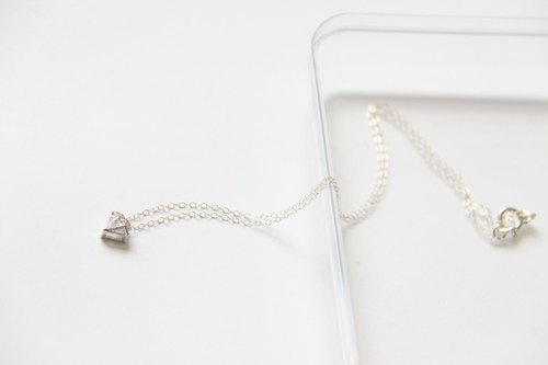 Diamond + Diamond Necklace (Silver) / Silver Diamond shape charm with cubic Zirconia silver chain pendant