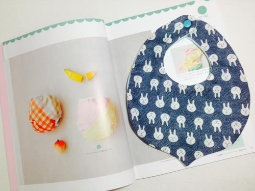 : Little Bunny (blue and gray): small chestnut breathable bibs