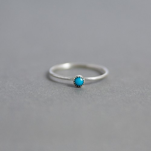 Tiny Turquoise Sterling Silver Ring - Handmade 925 Silver Jewellery