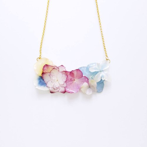 """PS anthomaniac AGFC"" (produced by injection) full cube making real flowers 24K gold plated pink color hydrangea necklace Necklace"
