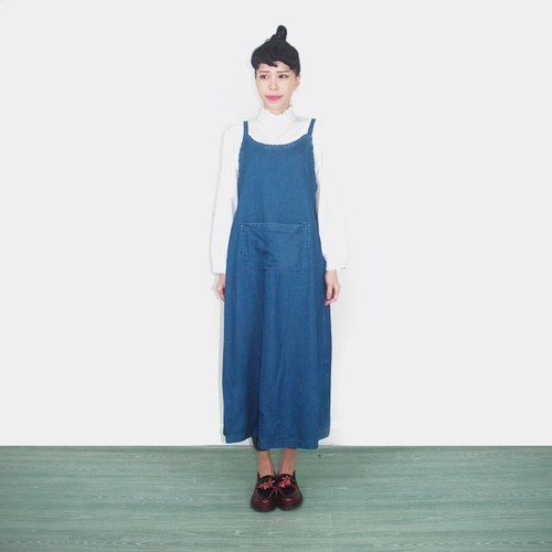 Jeans front pocket vintage camisole dress AK6023