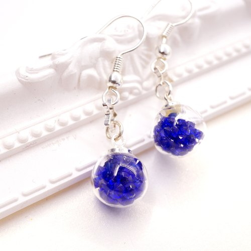 A Handmade dark blue glass ball hanging crystal earrings