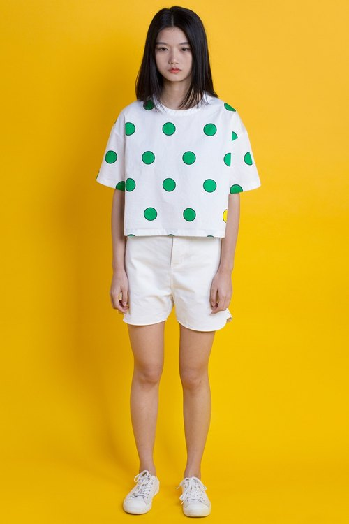POP Series T-Shirt - Green Polka Dot White