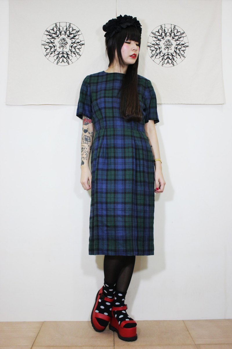 F2043 (Vintage) blue-green plaid cotton short-sleeved vintage dress (wedding / picnic / party)