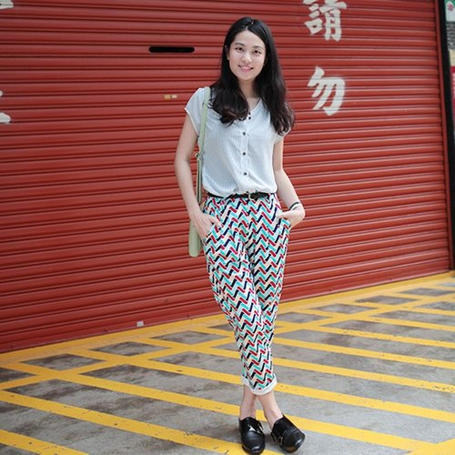 GT colorful ripple classic pants zipper
