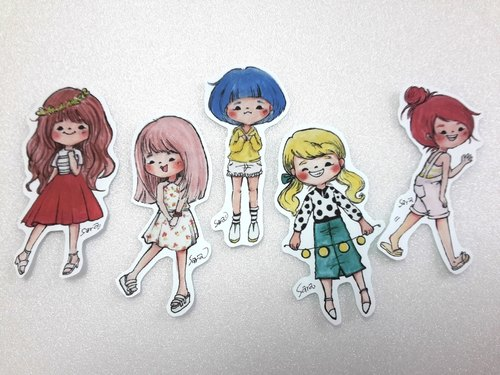 Girls stickers AN group (all 14 groups)