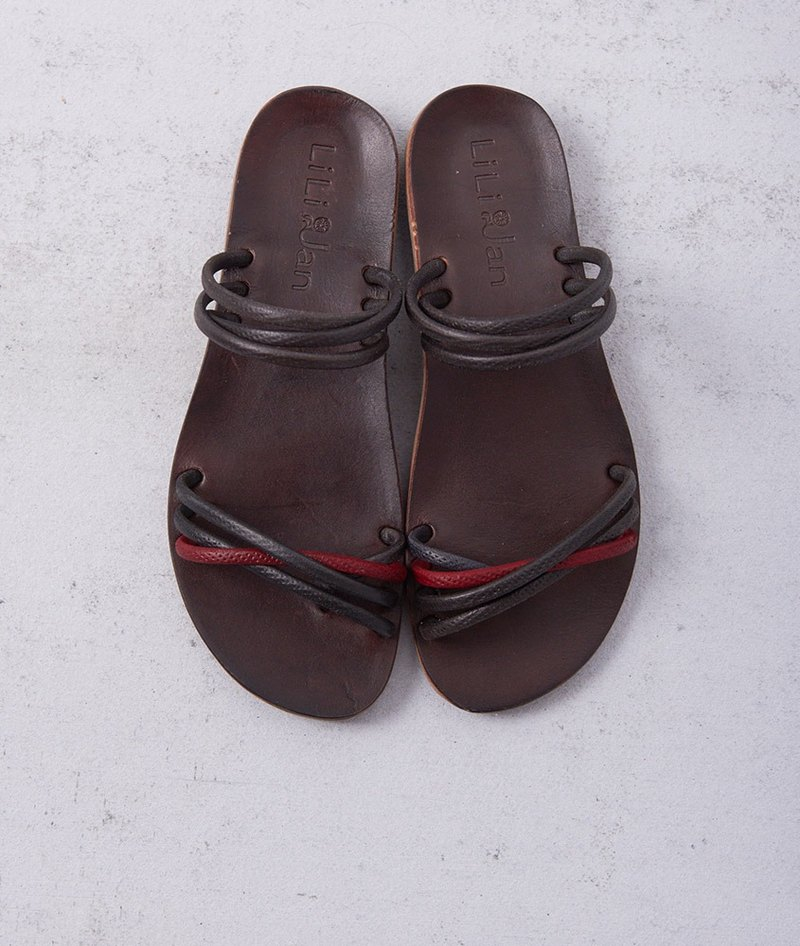 [Pure vacation] hit color leather sandals and slippers _ classic red / black