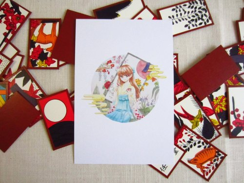 HANAFUDA Girl - game Girl Postcards