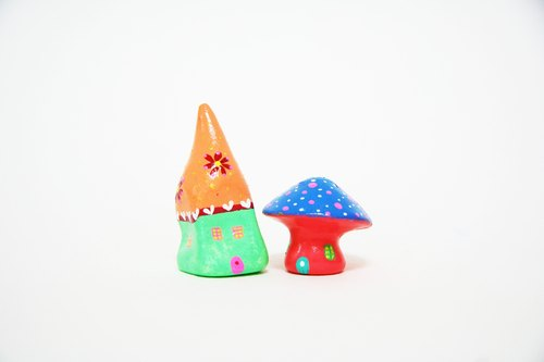 Little House Little House - Persian sun fairy house / blue pink Shuiyu mushroom house composition