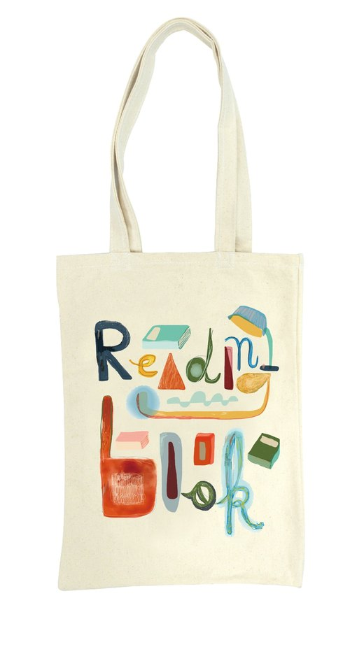 reading book tote bags 閱讀習慣 雙面托特包