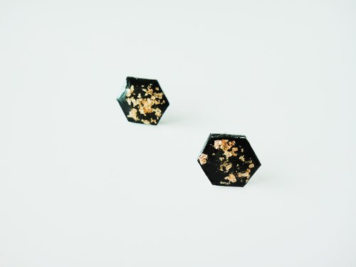HEXAGON DOUBLE BLACK & GOLD EARRING- hexagonal black and gold earrings / handmade hand-made earrings / jewelry gifts