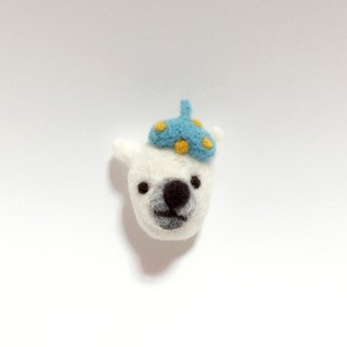 Needle felted Polar Bear pin