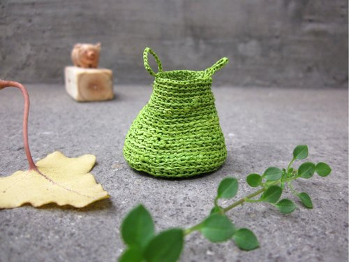 Miniature green basket, home decor, natural, hand crochet, dollhouse