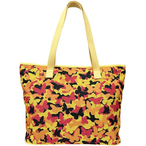 Videos jacquard woven large tote bag psychedelic yellow butterflies