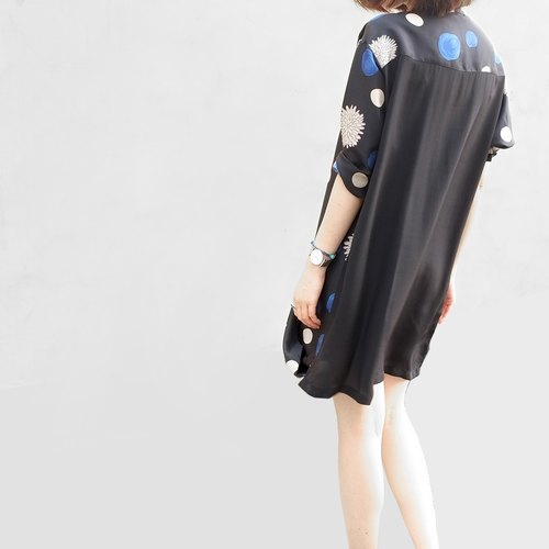 Gao fruit / GAOGUO original designer brand new women's long section of loose shirt silk printed blouse