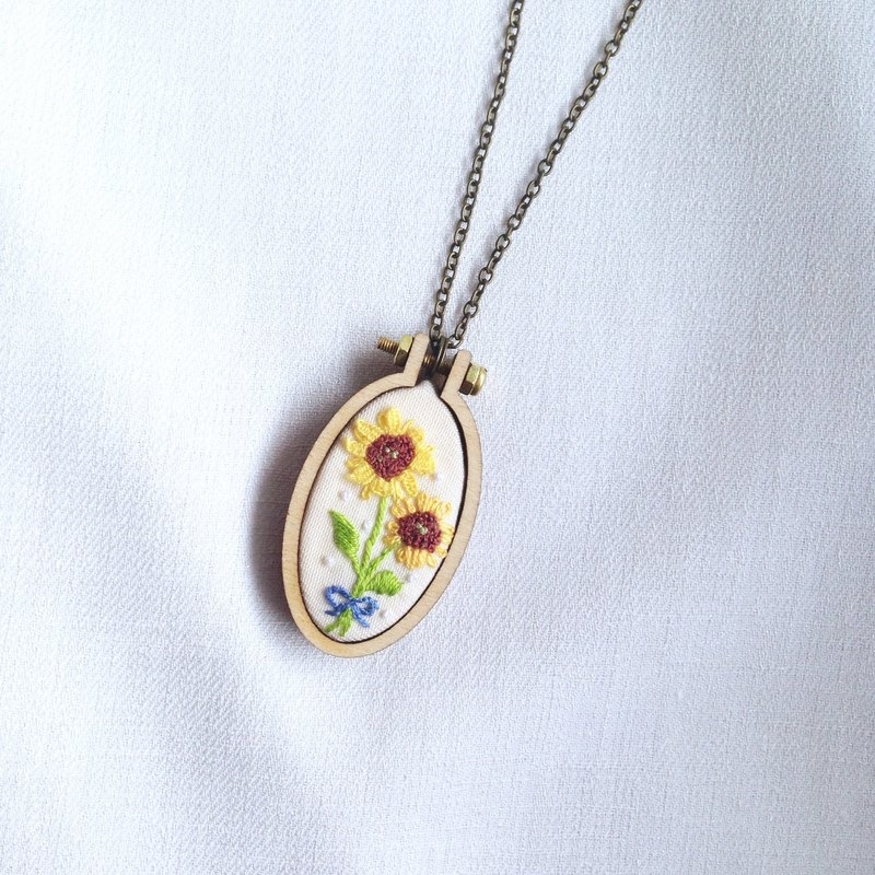 llandudno Embroidered Sunflower Necklace