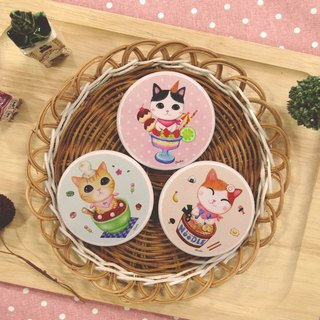 ChinChin sided small round mirror painted cat - cup dessert combination (three in)