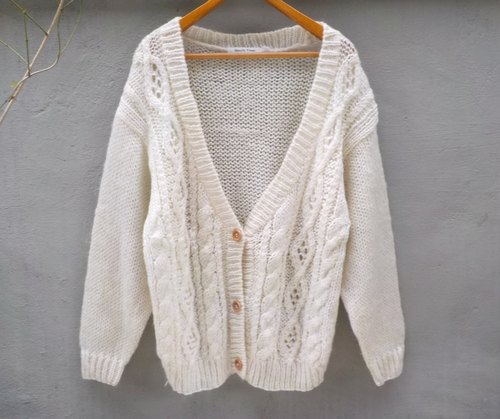 FOAK twist vintage white hollow sweater coat
