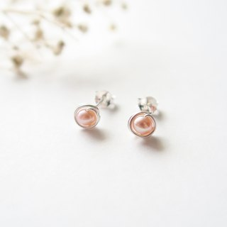 925 Silver Fresh Water Pink Pearls Earrings- Spiral Ear Clip-Sold as a Pair