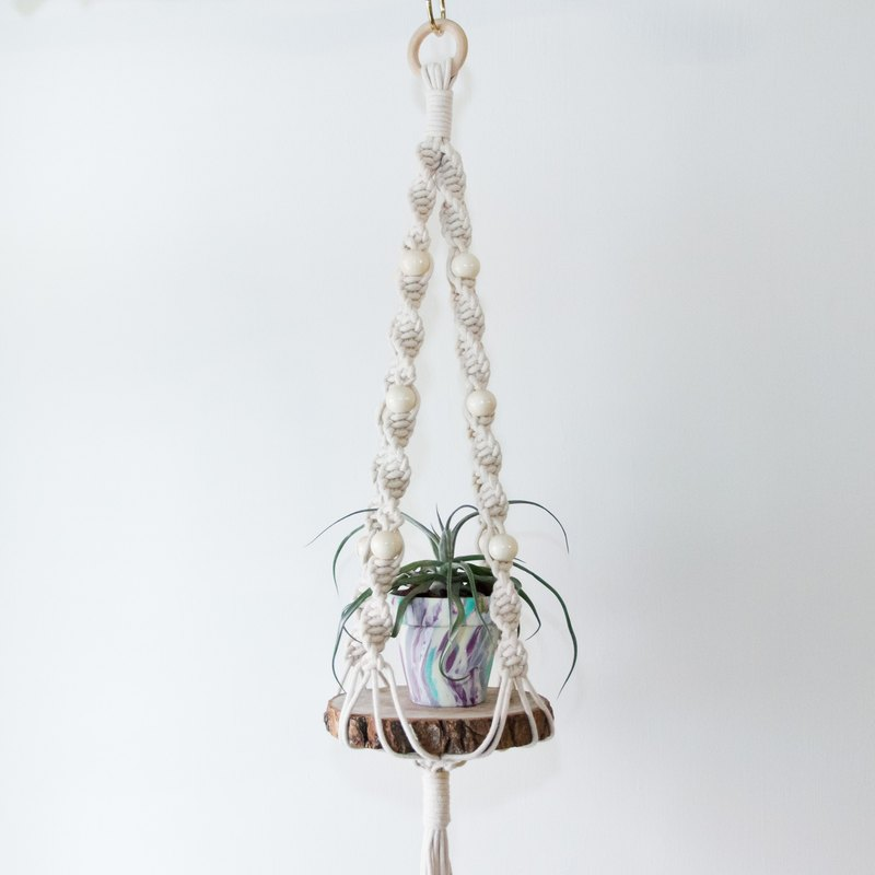 [Plan] stroll grass braid hanging net [Twist / beige] Miansheng // // // green life // hanging planting