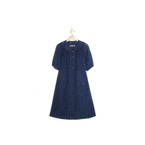 [Eggs] plant vintage vintage ocean currents Hane Pleated Dress