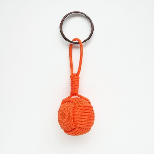 "TINYWOODY / Nautical Knot / globe kbot / Monkey Fist KeyChain keyring ""Orange"""