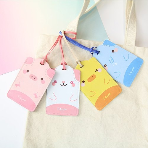 i card Universal Card Set - Pig Luggage Tag ID Tag Hanger Animal Ticket Clip