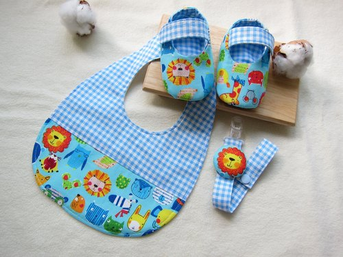 123 Zoo - Baby Baby Mi-month group / baby bibs + Shoes + Pacifier chain (three groups)