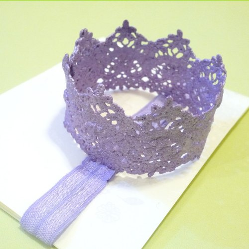 Purple hair ribbon lace crown